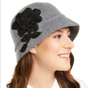 August Hat Company Applique Melton Cloche Grey Hat